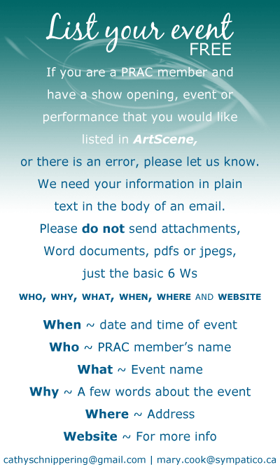 List your event FREE, If you are a PRAC member and have a show opening, event or performance that you would like listed on this calendar page, or there is an error, please let us know.